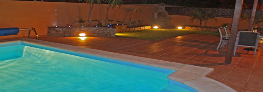 The lighting of our Villa Private pool and garden